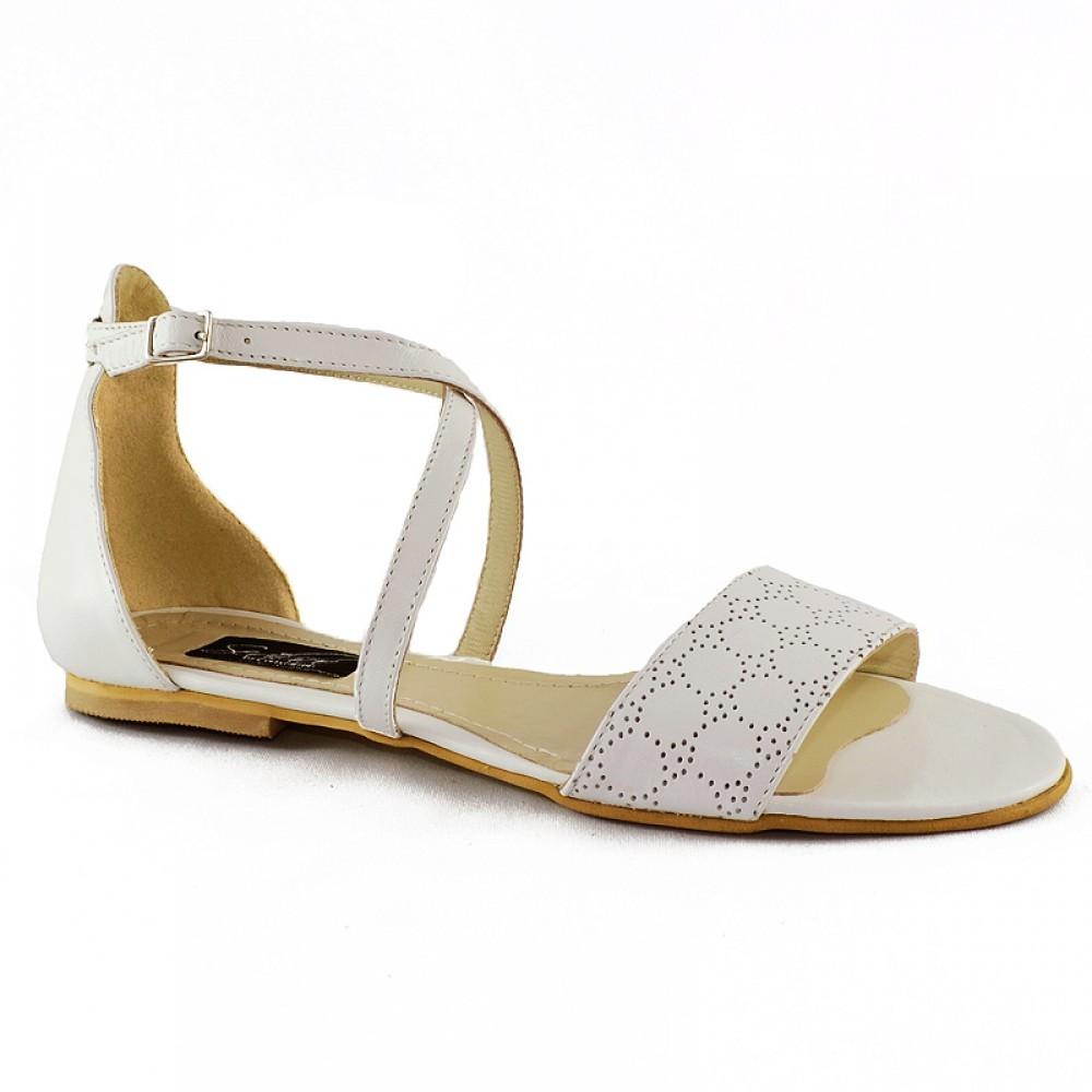Sandale Albe Din Piele Perforata