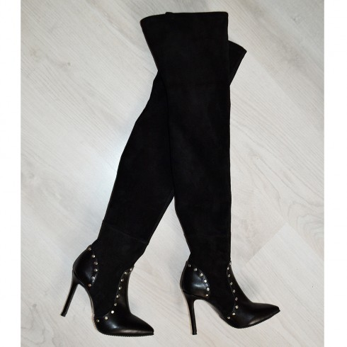 CIZME STRETCH OVER THE KNEE BLACK LEATHER
