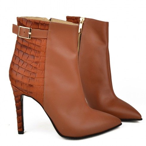 GHETE STILETTO COGNAC - poza 2