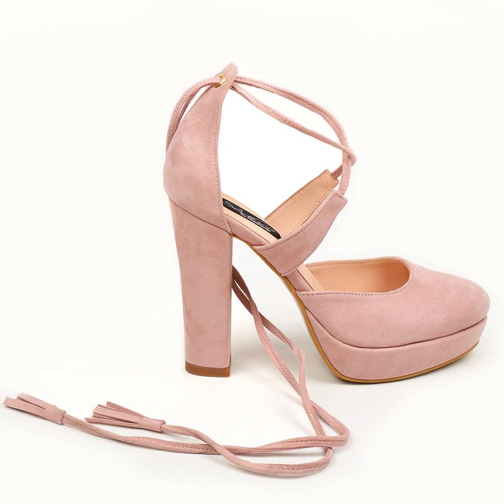 Pantofi Roz Prafuit Cu Ciucuri Raisa