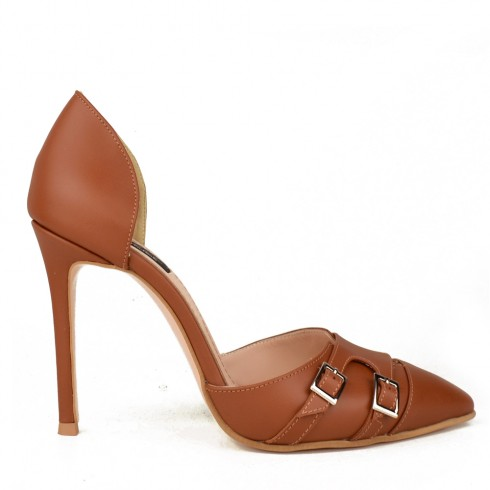 OPEN SIDED STILETTO BROWN LEATHER MONK