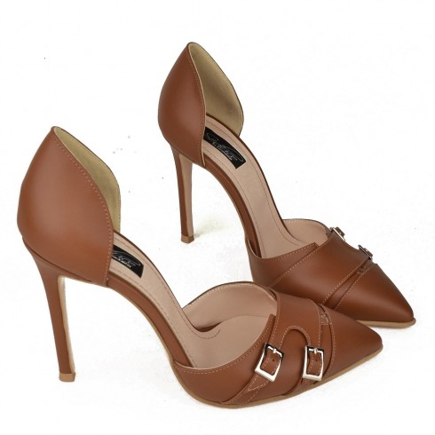 OPEN SIDED STILETTO BROWN LEATHER MONK - poza 3