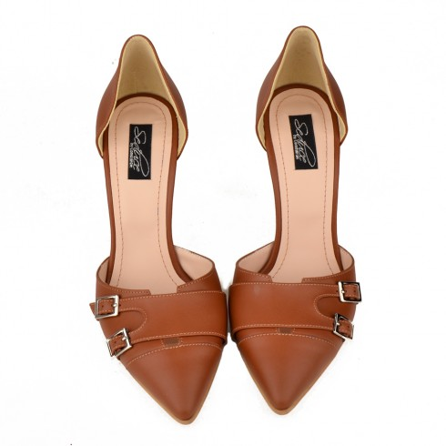OPEN SIDED STILETTO BROWN LEATHER MONK - poza 2