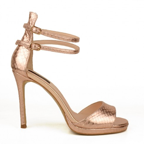 SANDALE ROSE GOLD PYTHON GENUINE SKIN